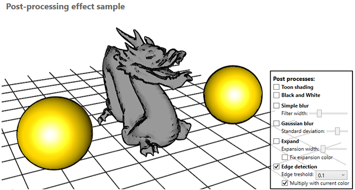 Ab3d.DXEngine with sobel edge detection post process