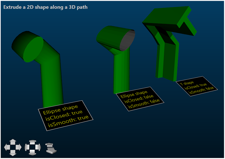 Extrude a custom 2D shape along a 3D path