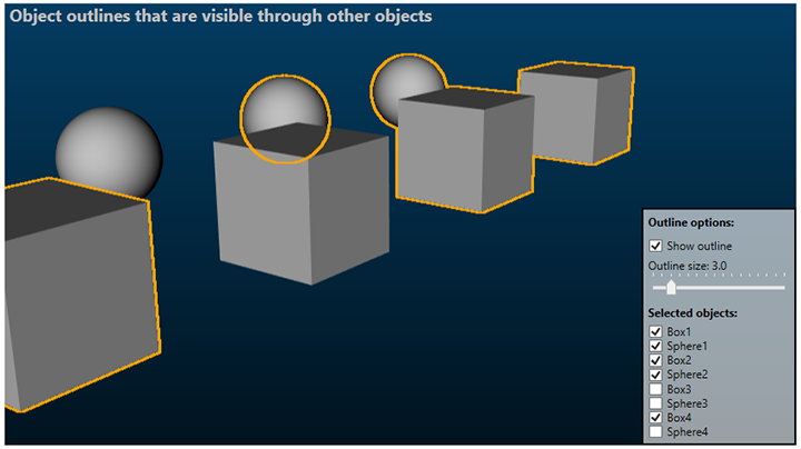 Ab3d.DXEngine with object oulines